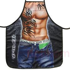 Men's Fun Apron - Funny Cooking - Muscle Man w/ Jeans & Tatoo - Kitchen Apron