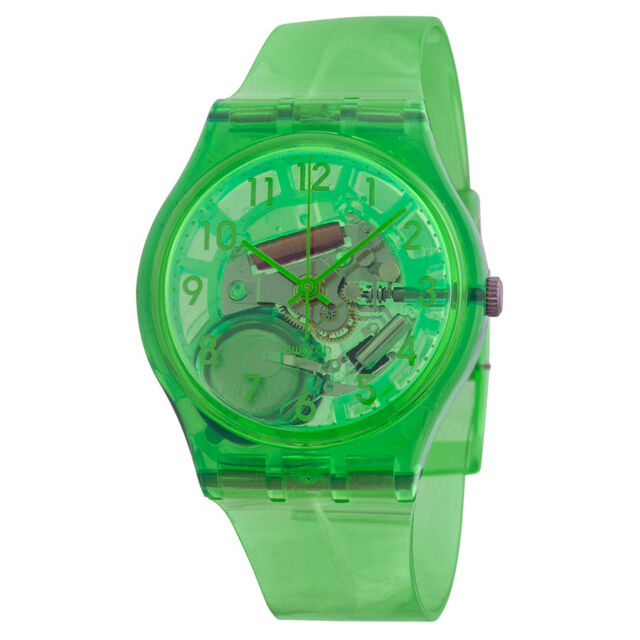 Swatch Limade Green Translucent Dial Green Translucent Silicone Unisex Watch