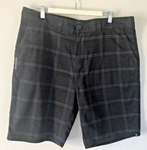 AS-NEW-QUIKSILVER-MENS-DRESS-SHORTS-SIZE-36-BLACK-WITH-DISCREET-LOGO-PRINT
