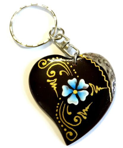 Porte clé clef Coeur Amour Bois Artisanal Fleur wooden key holder Heart cle