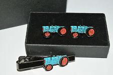 Fordson Major Blue Tractor Cufflinks & Tie Clip Set Enamel GIFT BOXED Weddings