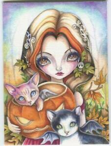 ACEO S/N L/E HALLOWEEN CAT FAIRY BAT SKULL JACK O LANTERN PUMPKIN RARE ART PRINT