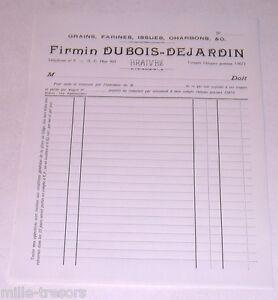 Ancienne-Facture-GRAINS-FARINES-CHARBONS-Firmin-DUBOIS-DEJARDIN