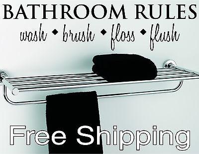 BATHROOM RULES wall vinyl sticker home decor inspirational art FREE SHIPPING !!!