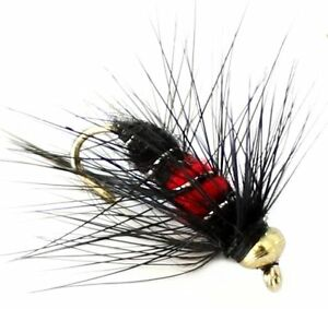 6-x-Trout-Fishing-Flies-Or-Tete-Nymphes-33J-x-6-x-Noir-amp-Rouge