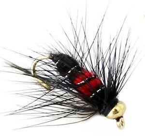 TRUITES-MOUCHES-6-x-Trout-Fishing-Flies-G-H-NYMPHES-33J-x-6-x-Noir-amp-Rouge-UK