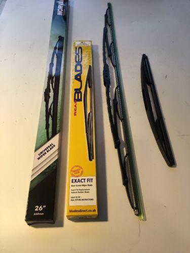 Frente Y Parte Trasera Limpiaparabrisas Cuchillas X2 Set Completo reemplazos directos