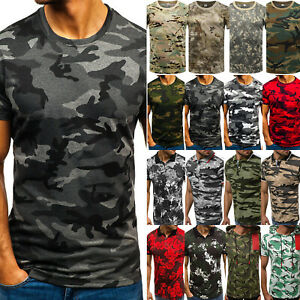 Mens-Camo-T-Shirt-Military-Short-Sleeve-Army-Summer-Blouse-Sports-Top-Camouflage