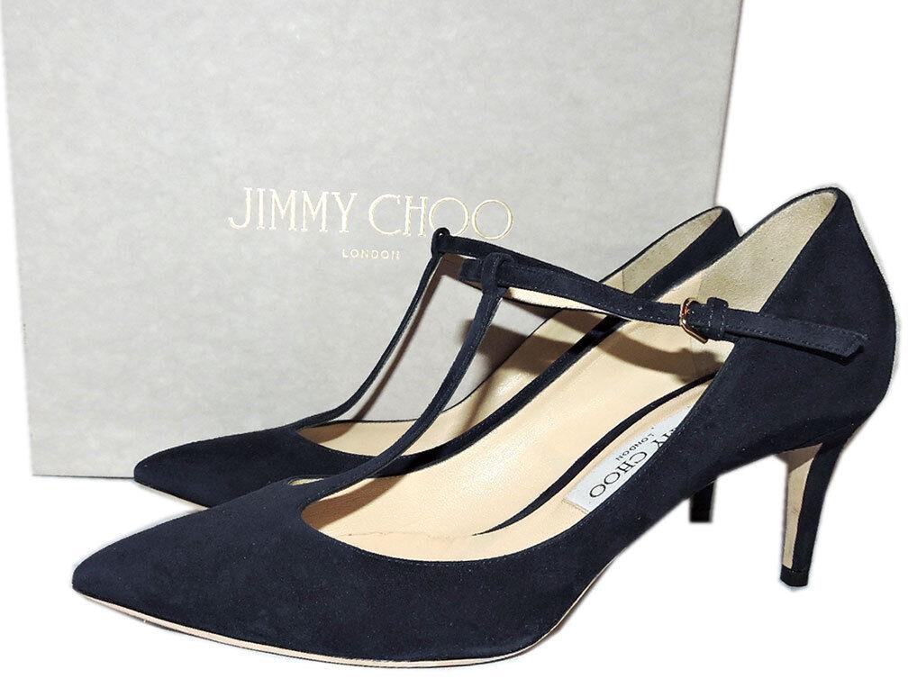 Jimmy Choo Daria Pointy Toe T Strap Pump Navy bluee Suede 65 Mm  Heels shoes 39