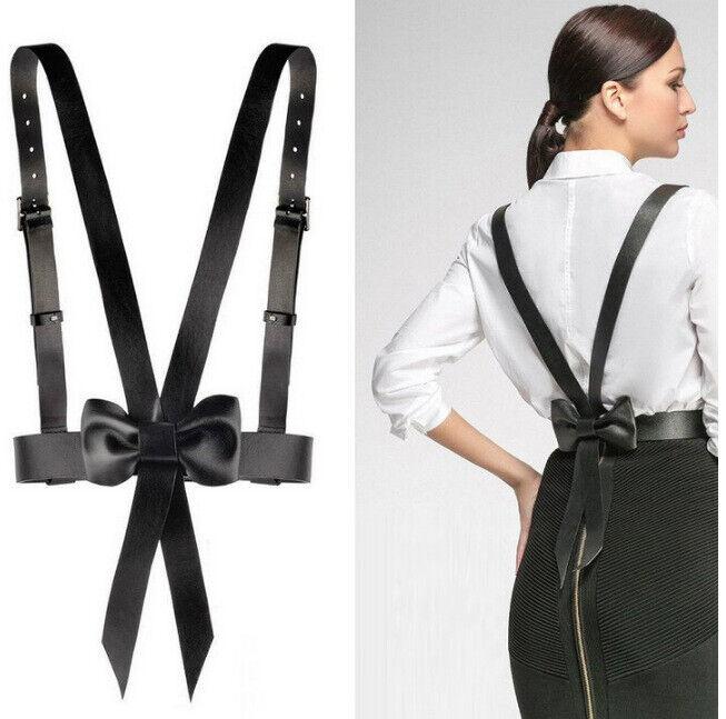 Sexy Women Faux Leather Body Harness Waist Belt Strap Bow Tie Corset Bustier