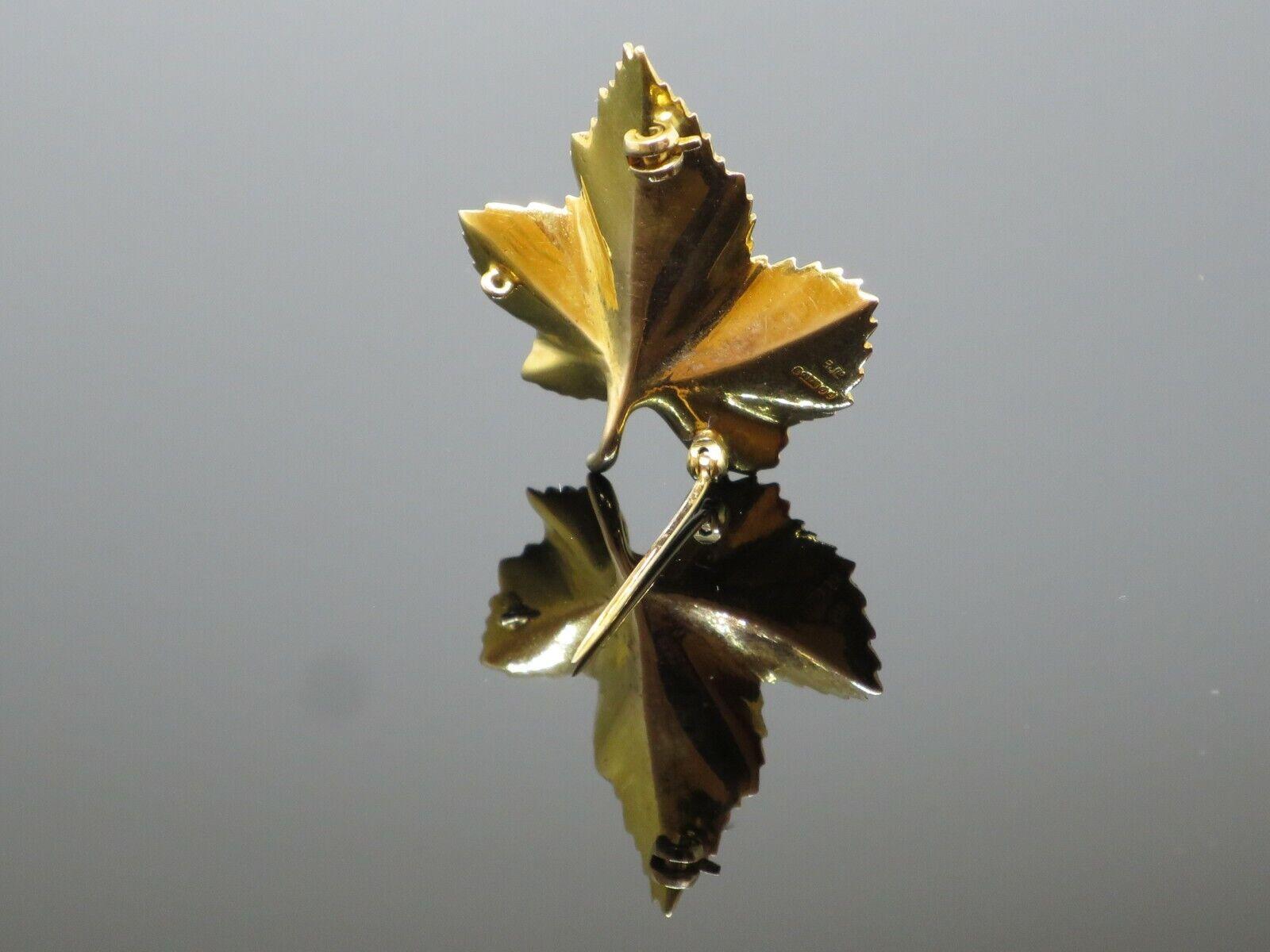 "Vintage ""Sycamore Leaf"" 0.15CTW Garnet 9K Yellow … - image 8"