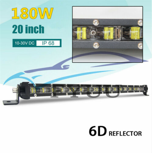 "UK Stock 20/"" 180W 6D Slim LED Car SUV Single Row Work Light Bar Spot Beam Lamp*1"