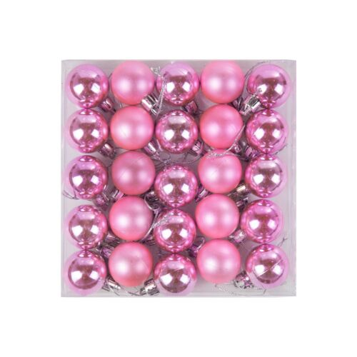Baby Pink Pack of 25 Mini Miniature Small Shiny /& Matte Christmas Tree Baubles