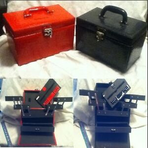 2-PRO-Cosmetic-Train-Cases-Red-Black-Pat-Leather-Fold-Makeup-Jewelry-Art