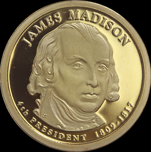 """2007 S James Madison Presidential Dollar Gem Deep Cameo /""""PROOF/"""" US Mint Coin $"""