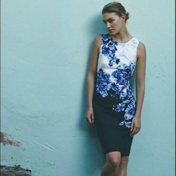 ANTHROPOLOGIE NWT Vanda Pencil Dress Sheath Floral Blau Back Opening Sz 6P