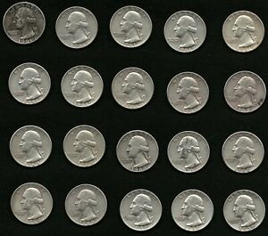 Lot-of-20-Washington-Silver-Quarters-Coins-Years-1959-1960-1961