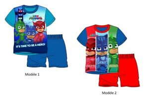 Ensemble-pyjama-d-039-ete-PYJAMASQUES-PJ-MASKS-pyjacourt-enfant-garcon-short-t-shirt