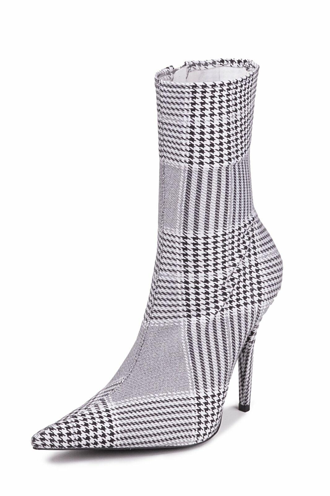Jeffrey Campbell Vedette-2 Stiefel Schwarz Weiß Tweed Spitz Zulaufend Kleid (8.5