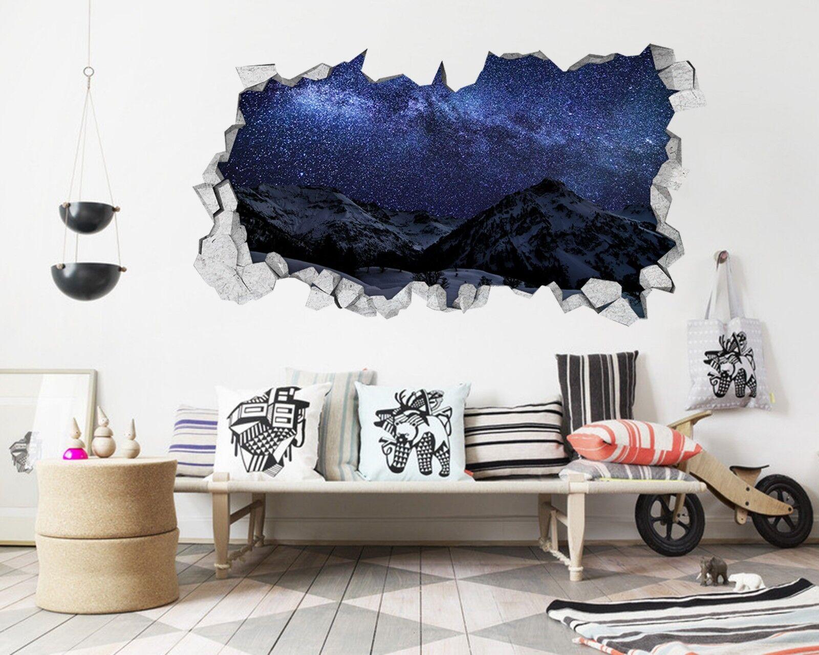3D Montagna Stelle 006 Parete Murales Adesivi Decal Sfondamento AJ WALLPAPER IT