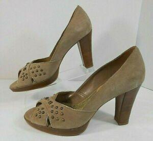 Franco-Sarto-Womens-Peep-Toe-Heels-7-M-Suede-Leather-Slip-On-Peep-Toe-Beige