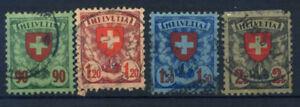 Switzerland-1924-Mi-194-197-Used-100-Shield-Coat-Of-Arms