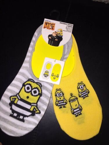 WOMENS DESPICABLE ME3 MINIONS INVISIBLE SOCK...Size 4-8 £3.99