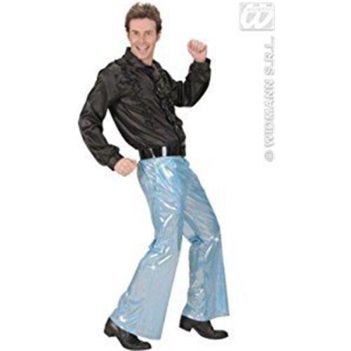 Pantaloni paillettes olografiche-Blu Accessorio per travestimenti 70 S M Da Uomo Da Discoteca