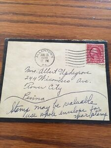 1930 2 Cent US Postage Stamp That Is Postmarked On A Small Envelope