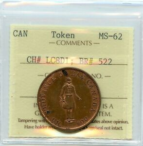 1837 Bank of Montreal, Half Penny Token Breton #522 CH LC-8D1, ICCS MS-62