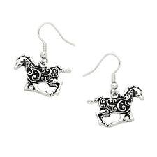 Running Horse Fashionable Earrings - Vine Filigree - Fish Hook - Silver Plated