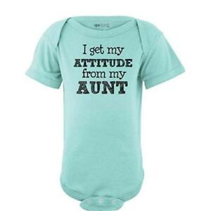 I-Get-My-Attitude-From-My-Aunt-Funny-Short-Sleeve-Baby-Bodysuit