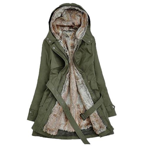 Fashion Ladies Fur Lining Coat Womens Winter Warm Thick Long Jacket Hooded Parka