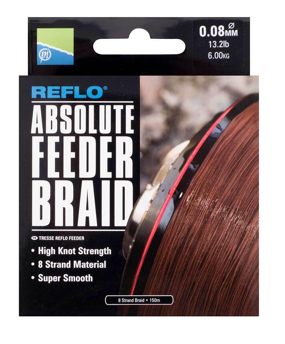 Preston REFLO Absolute Feeder Braid 150m All Diameters 8 strand braid