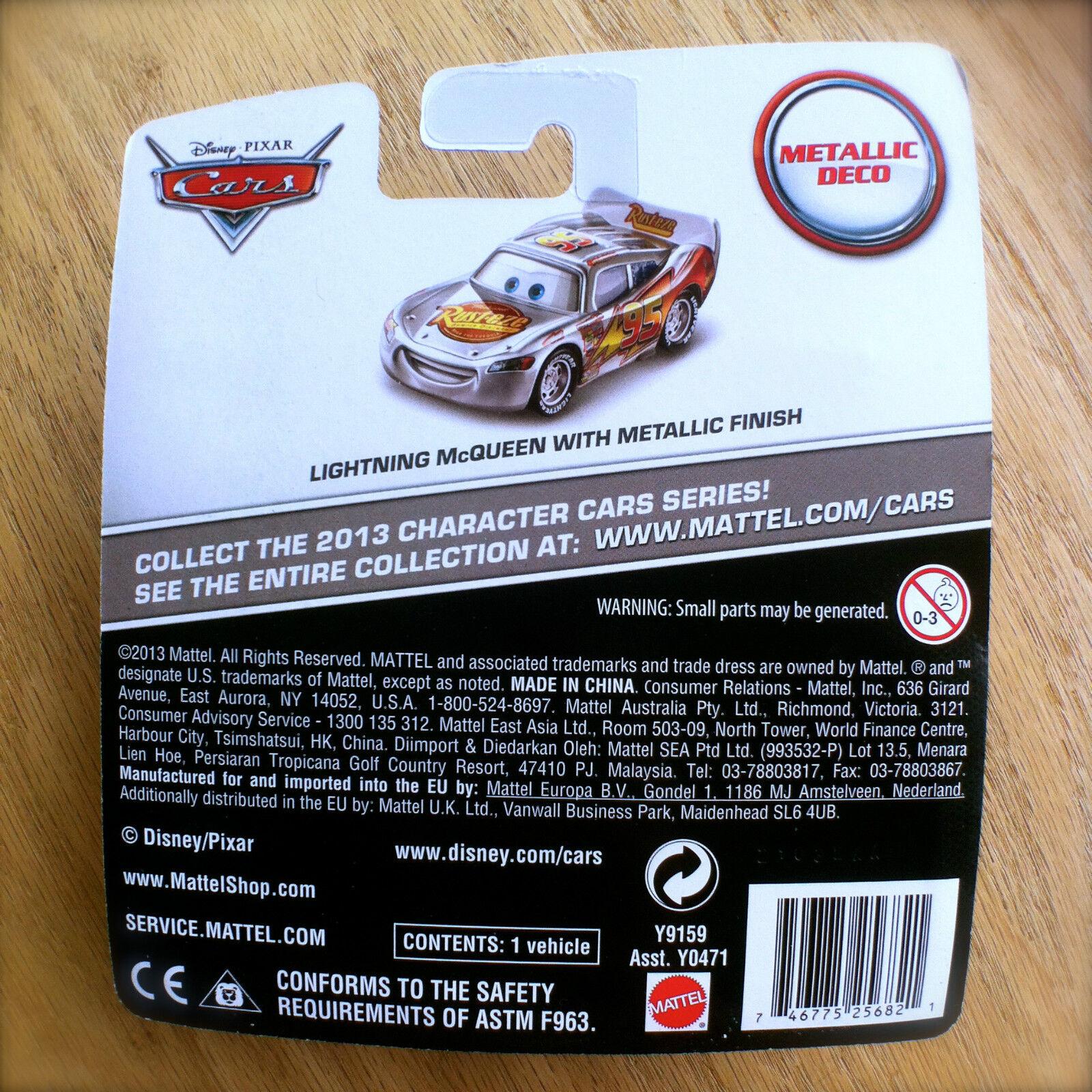 disney pixar cars lightning mcqueen w metallic finish silver deco