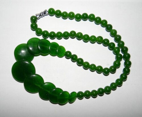 "18/"" China Nature Jade Green Round Pearls Women/'s Necklace Pendants"