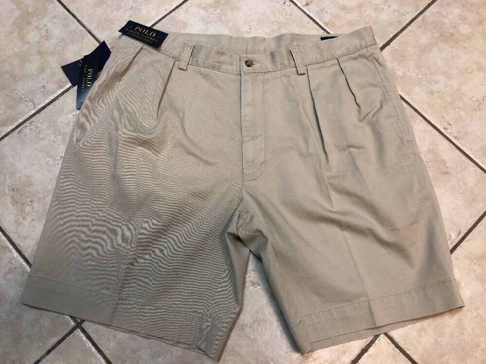 666f63eb63 Polo Ralph Lauren Shorts Mens 42 Classic Fit Pleated 9 Inseam Stone NWT