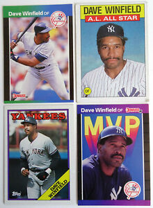 1986-88-Baseball-Cards-Dave-Winfield-Donruss-Topps-Lot-of-4-Yankees