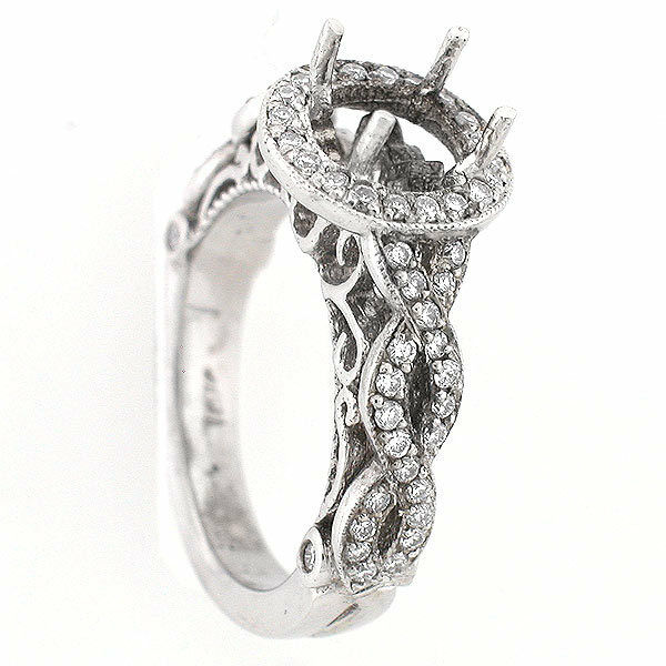 14k White gold Semi Mount  Braided Shank DIAMOND RING SETTING 0.60 CTS Vintage