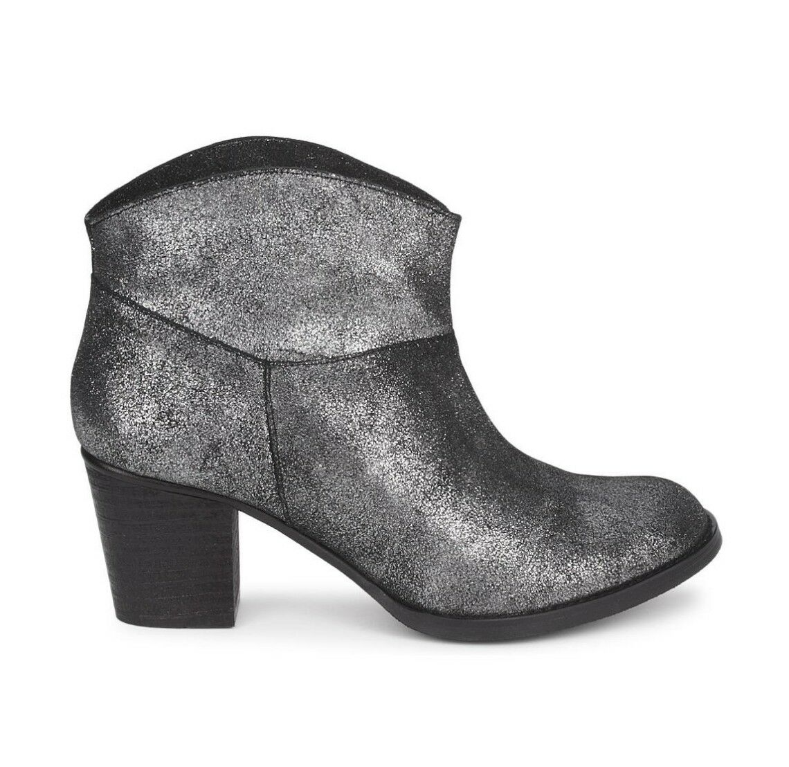 KG by Kurt Geiger Suzie Pewter Silver Metallic Suede Ankle Boots US 5 NEW