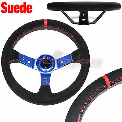 Deep Dish SUEDE LEATHER 6 Bolt 3 Spoke Racing Steering Wheel RED Stitches BLUE
