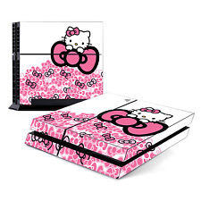 Skin Decal Cover Sticker for Sony PlayStation 4 PS4 - Cute Kitty Pink Bow