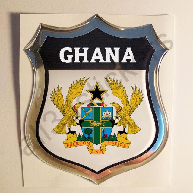 Sticker Ghana Emblem Coat of Arms Shield 3D Resin Domed Gel Vinyl Decal Car Moto