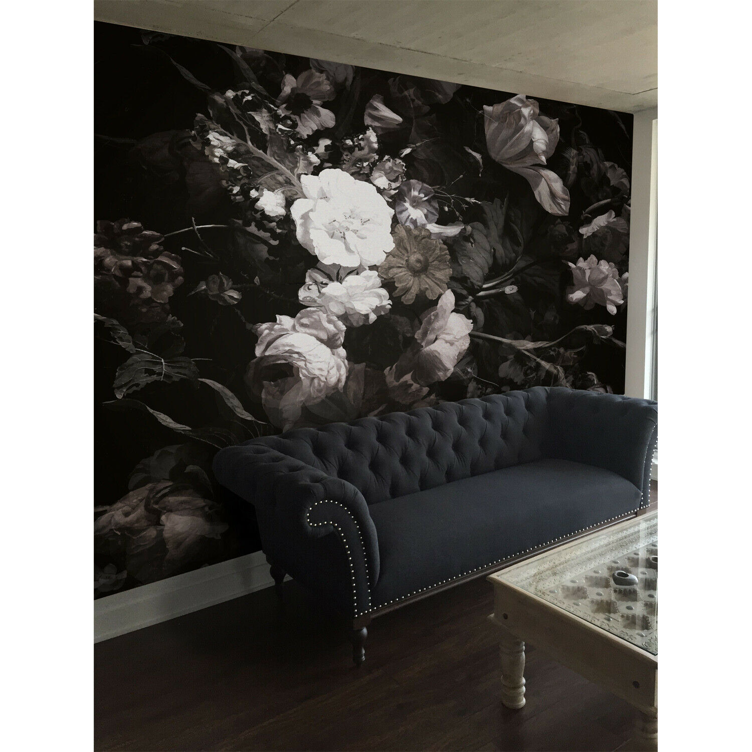Dark Vase Of Flowers Removable   Vintage Painting   Repositionable wall mural