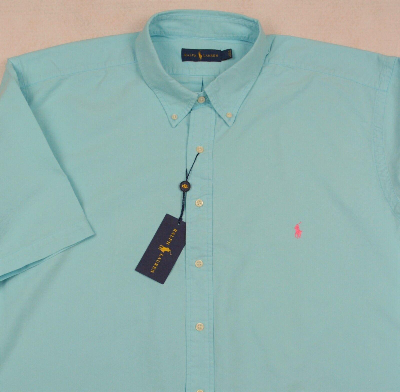 Ralph Lauren Shirt Hammond bluee Deep Dye Short Sleeve Button Front 4XB 4X NWT