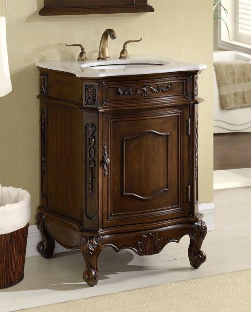 24 Debellis Antique Bathroom Sink Vanity Cabinet W White Marble Top Bwv 047w For Sale Online