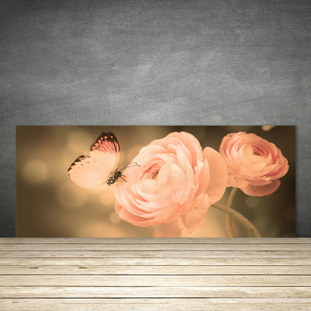 Crédence de cuisine en verre Panneau 125x50 Nature Roses Papillon