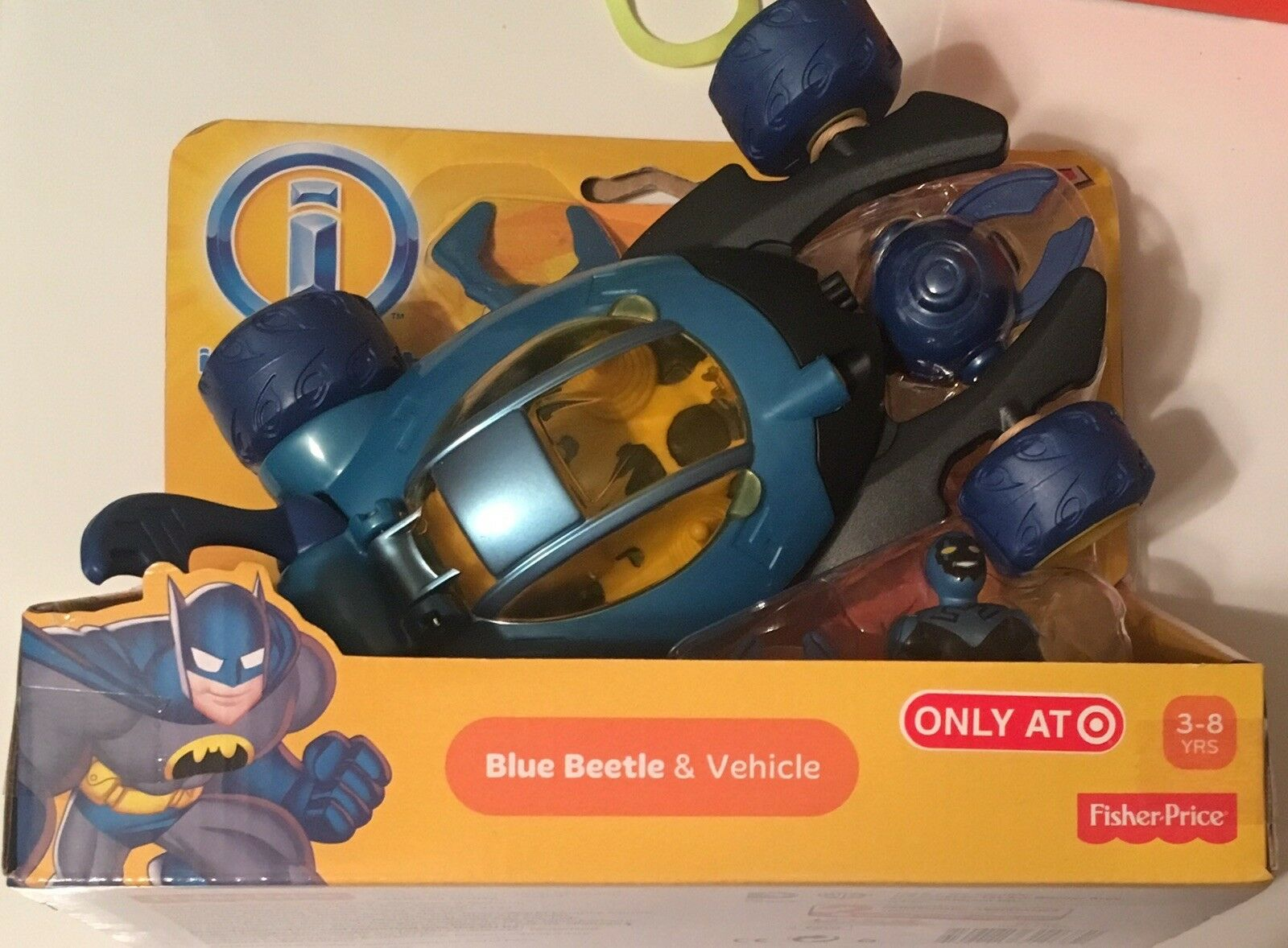 FISHER PRICE PRICE PRICE IMAGINEXT JUSTICE LEAGUE - blueE BEETLE & VEHICLE (RARE)  77536b