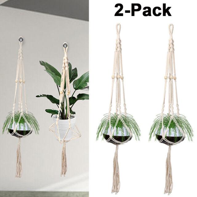 """Plant Hanger Flower Pot Plant Holder Large 4 Legs Macrame Jute 43/"""" FREE SHIP"""