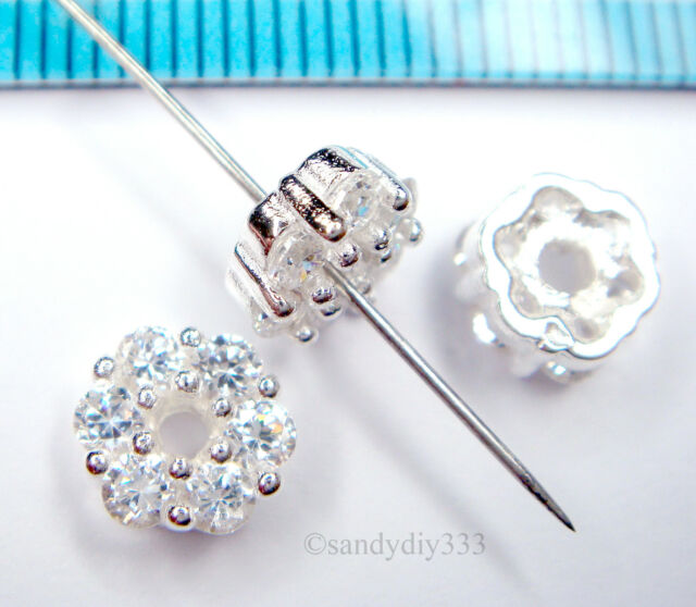 Sterling Silver 5x3mm Crystal Rondelle Spacer Bead PK2 PK10